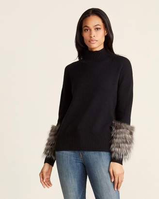 Ply Cashmere Long Sleeve Real Fur-Trim Cashmere Sweater