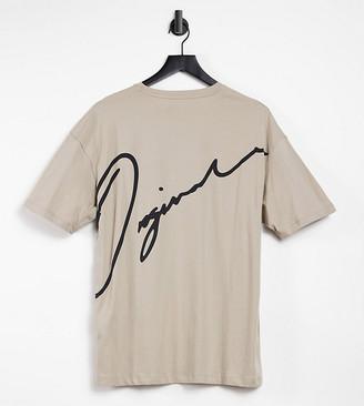 Jack and Jones Originals oversize T-shirt with script logo back print in beige Exclusive to ASOS
