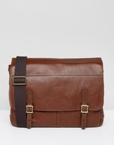 Fossil Messenger Bag In Leather