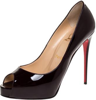 Christian Louboutin Dark Burgundy Patent Leather Very Prive Peep Toe Platform Pumps Size 39
