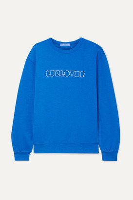 PARADISED Sunlover Embroidered Cotton-blend Jersey Sweatshirt - Bright blue