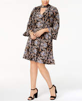 Jessica Howard Plus Size Printed Mock-Neck Dress