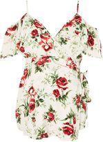 Topshop MATERNITY Floral Cold Shoulder Wrap Blouse