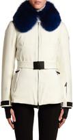 Moncler Ecrins Fur-Collar Belted Coat