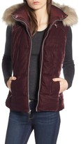 Andrew Marc Women's Val Velvet Vest With Faux Fur Trim