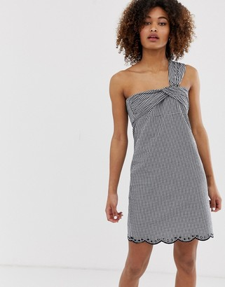 Pepe Jeans Chelo gingham one shoulder dress-Black