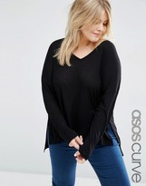 Asos V Neck Top With Long Sleeves In Oversized Slouchy Rib