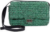 One Kings Lane Vintage Chanel Green Tweed Crossbody Flap Bag