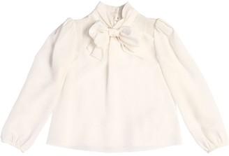 Dolce & Gabbana Silk Crepe De Chine Shirt W/ Bow