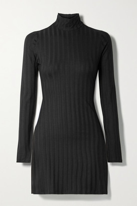 Reformation Libra Ribbed Stretch-tencel Lyocell Turtleneck Mini Dress - Black