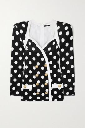 Balmain Button-embellished Polka-dot Satin Mini Dress - Black