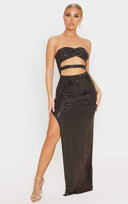 PrettyLittleThing Black Sequin Bandeau Cut Out Maxi Dress