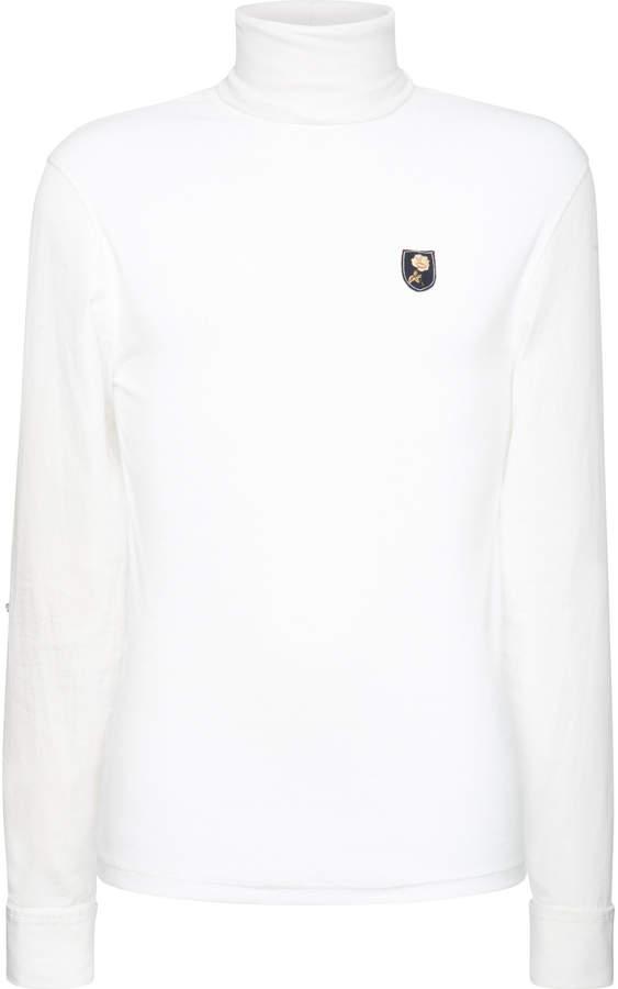 Alexander McQueen Embroidered Cotton-Poplin Turtleneck Shirt
