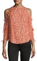 Veronica Beard Flynn Cold-Shoulder Floral Silk Blouse, Red