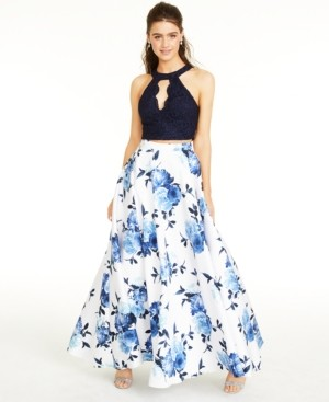 City Studios Juniors' Lace Top & Long Floral Skirt