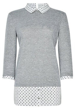 Dorothy Perkins Womens Grey Spot Print 2In1 3/4 Sleeve Top, Grey