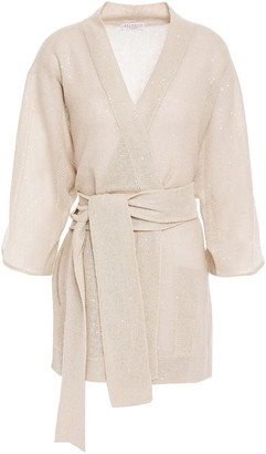 Brunello Cucinelli Belted Sequin-embellished Linen And Silk-blend Cardigan
