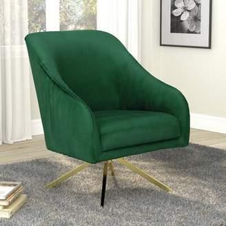 Everly Quinn Vitya Swivel Side Chair Quinn Upholstery Color: Green