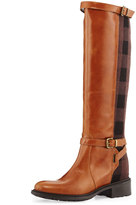 Charles David Pirella Plaid Flat Riding Boot, Cognac/Brown