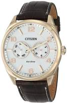 Citizen Men's AO9023-01A Eco-Drive Gold-Tone Watch with Brown Leather Band