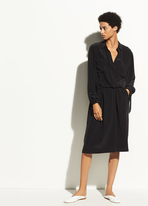 Vince Slit Back Silk Shirtdress