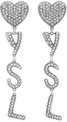 Saint Laurent Silver Crystal Heart Earrings