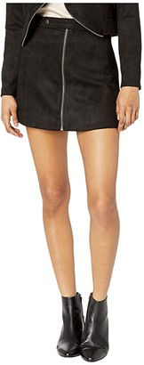 BB Dakota Lady Crush Faux Suede Skirt (Black) Women's Skirt