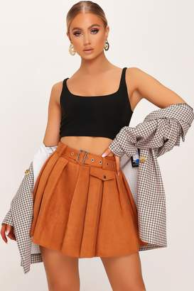 I SAW IT FIRST Rust Suede Pleated Skater Mini Skirt
