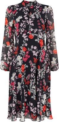Wallis Black Floral Print Keyhole Midi Dress