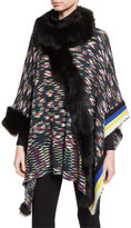 Missoni Wool Poncho w/ Fur Trim, Black/Multicolor