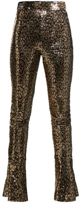 Halpern High-rise Sequin-embellished Skinny Trousers - Animal