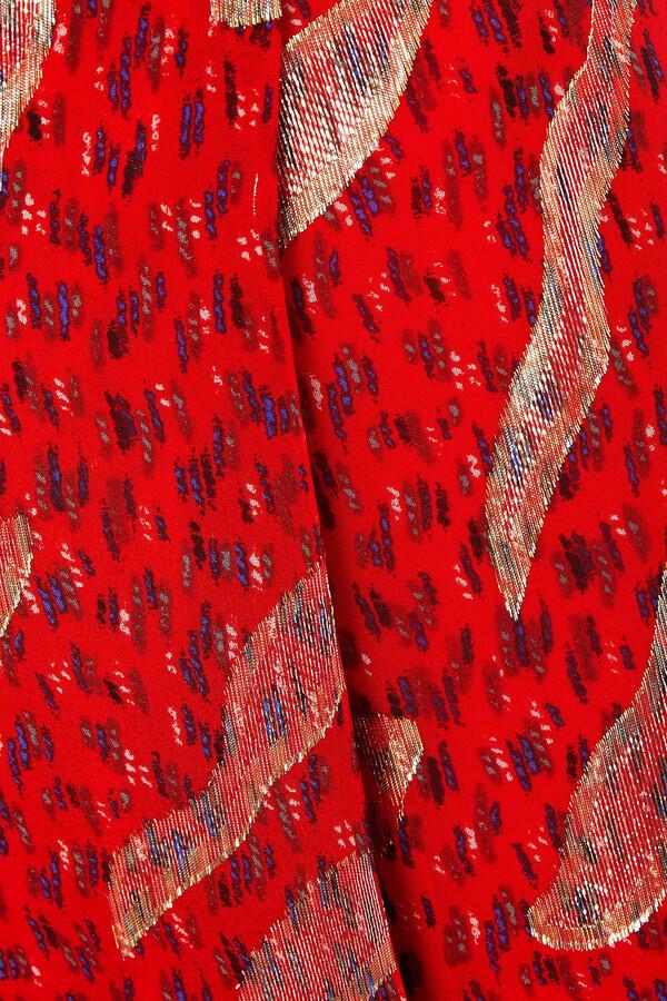 Thumbnail for your product : BA&SH Hada Metallic Fil Coupe Printed Silk-blend Wrap Skirt