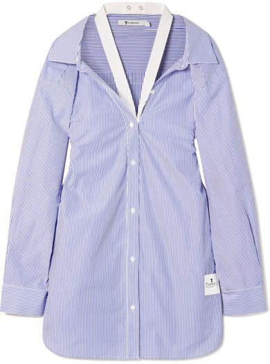 Alexander Wang Canvas-trimmed Striped Cotton-poplin Shirt - Blue
