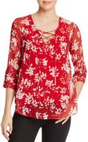 Bailey 44 Cherry Blossom Lace-Up Top