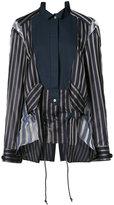 Sacai sheer panel bib stripe shirt - women - Cotton/Cupro/Silk - 1