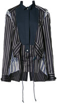 Sacai sheer panel bib stripe shirt