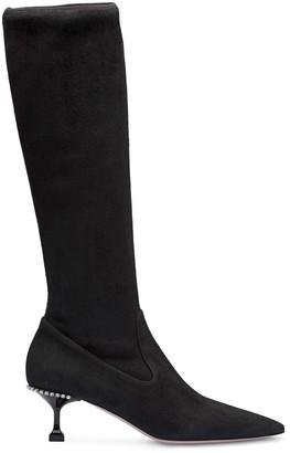 Miu Miu Stretch Kitten-Heel Boots