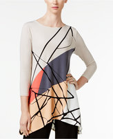 Alfani Petite Printed Asymmetrical Swing Top, Only at Macy's