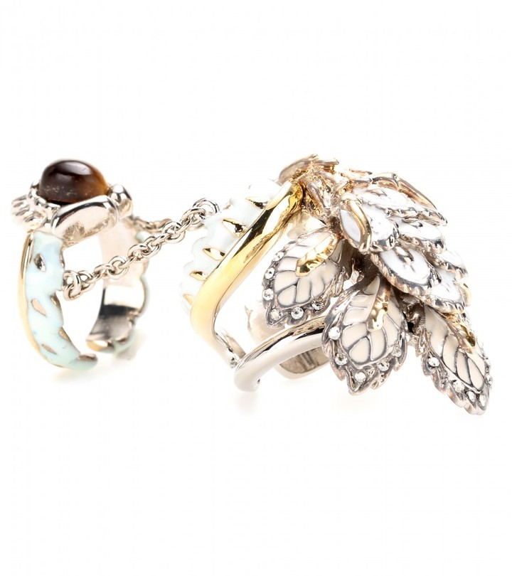 Roberto Cavalli Indian Flower enamelled ring