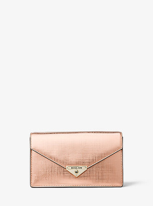 Michael Kors Grace Medium Metallic Leather Envelope Clutch