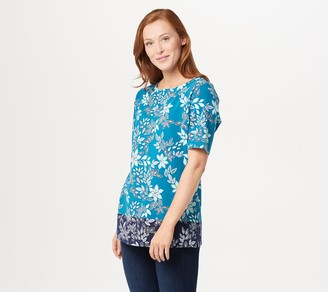 Denim & Co. Printed Perfect Jersey Boatneck Short-Sleeve Tunic