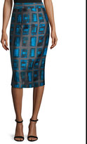 Milly Brushstroke Rectangle-Print Pencil Skirt, Azure