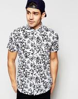 Brave Soul Short Sleeve Hawaiian Shirt In Mono