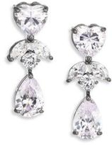 Fallon Monarch Crystal Heart Double-Drop Earrings