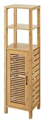Linon Bracken 4 Shelf 1 Door Bathroom Storage Linen Tower Cabinet, Bamboo
