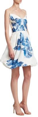 Monique Lhuillier Floral-Print Drape Bodice Silk Cocktail Dress
