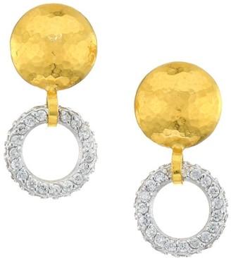 Gurhan Small Hoopla 24K Yellow Gold, 18K White Gold & Diamond Drop Earrings