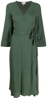 Ganni Printed Wrap Crepe Dress