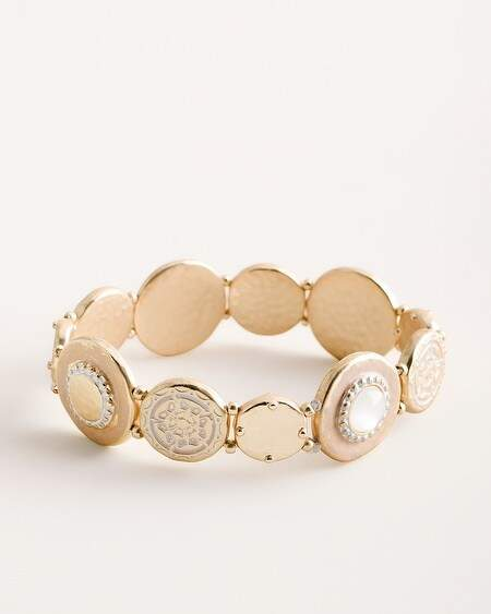 Chico's Chicos White and Gold-Tone Coin Stretch Bracelet