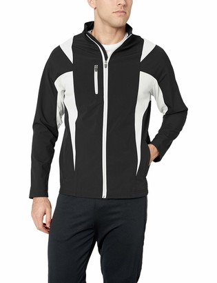 TM365 Men's TM36-TT82-Icon Colorblock Soft Shell Jacket Black Pink/Silver XXX-Large